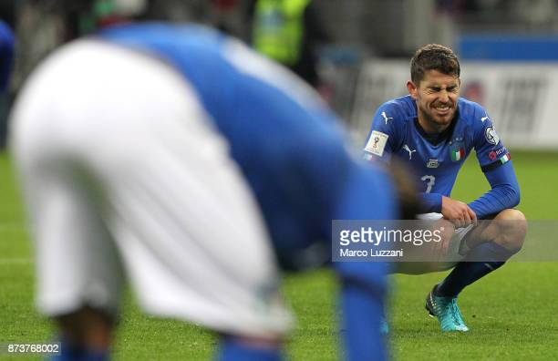 Jorginho of Italy reacts after loosing at the end of the FIFA 2018 World Cup Qualifier PlayOff Second Leg between Italy and Sweden at San Siro...