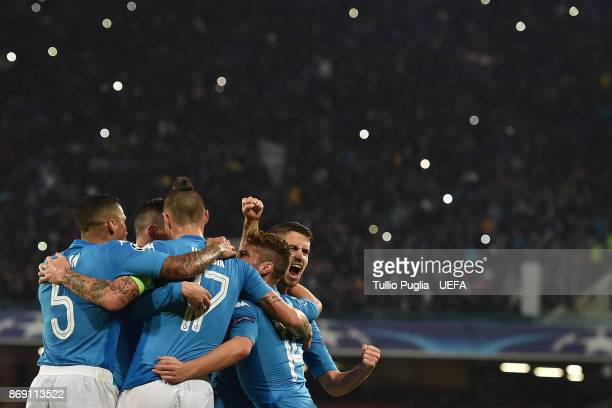 Jorginho of Napoli celebrates after scoring a penalty during the UEFA Champions League group F match between SSC Napoli and Manchester City at Stadio...