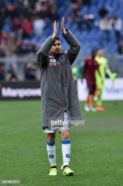 Jorginho of Napoli celebrates the victory during the Serie A match between Roma and Napoli at Stadio Olimpico Rome Italy on 4 March 2017