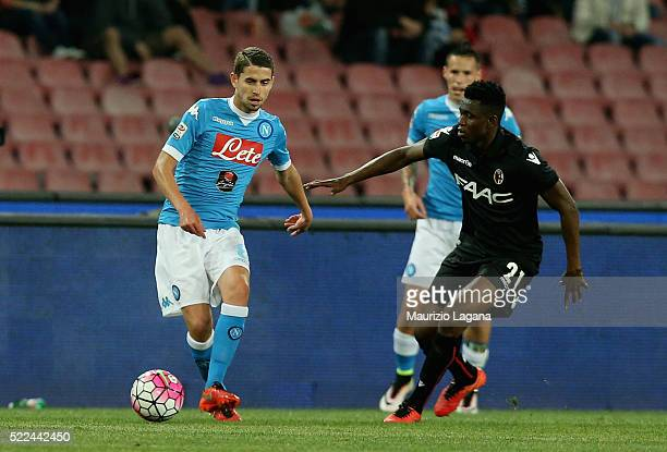 Jorginho of Napoli competes for the ball with Amadou Diawara of Bologna during the Serie A match between SSC Napoli and Bologna FC at Stadio San...