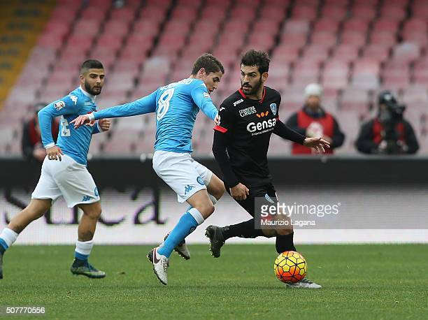 Jorginho of Napoli competes for the ball with Riccardo Saponara of Empoli during the Serie A match between SSC Napoli and Empoli FC at Stadio San...
