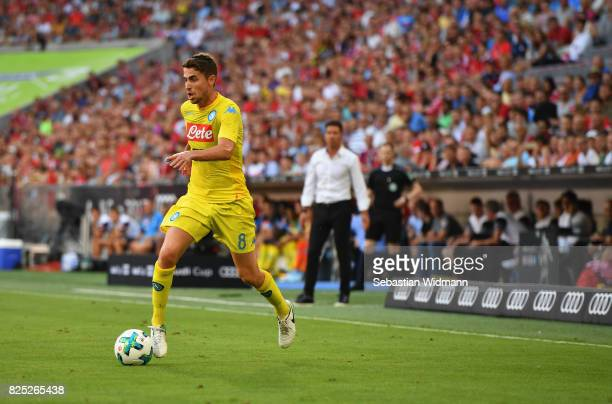 Jorginho of Napoli in action during the Audi Cup 2017 match between Club Atletico de Madrid and SSC Napoli at Allianz Arena on August 1 2017 in...
