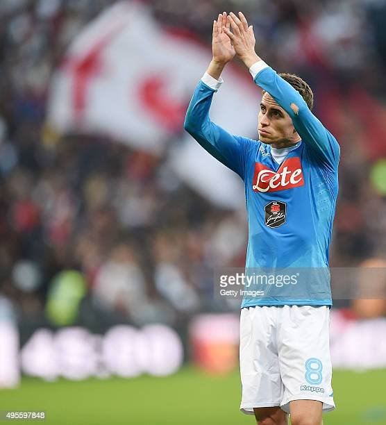 Jorginho of Napoli in action during the Serie A match between Genoa CFC and SSC Napoli at Stadio Luigi Ferraris on November 1 2015 in Genoa Italy
