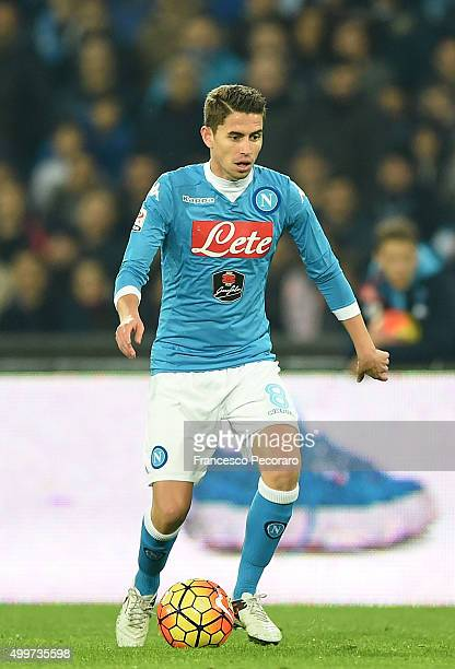 Jorginho of Napoli in action during the Serie A match between SSC Napoli and FC Internazionale Milano at Stadio San Paolo on November 30 2015 in...