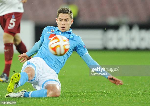 Jorginho of Napoli in action during the UEFA Europa League Round of 32 football match between SSC Napoli and Trabzonspor AS at the San Paolo Stadium...