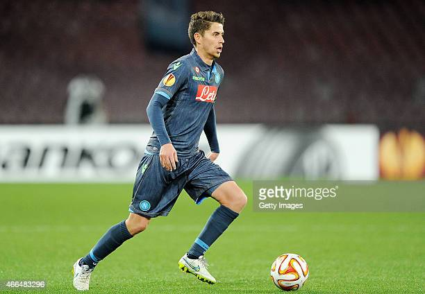 Jorginho of Napoli in action during the UEFA Europa League Round of 16 football match between SSC Napoli and FC Dinamo Moskva at the San Paolo...