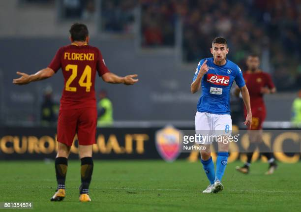 Jorginho of Napoli reclaiming with Alessandro Florenzi of Roma after a tackle during the Italian Serie A football match AS Roma vs Napoli at the...
