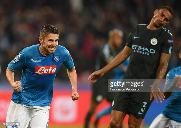 Jorginho of SSC Napoli celebrates after scoring 22 goal during the UEFA Champions League group F match between SSC Napoli and Manchester City at...