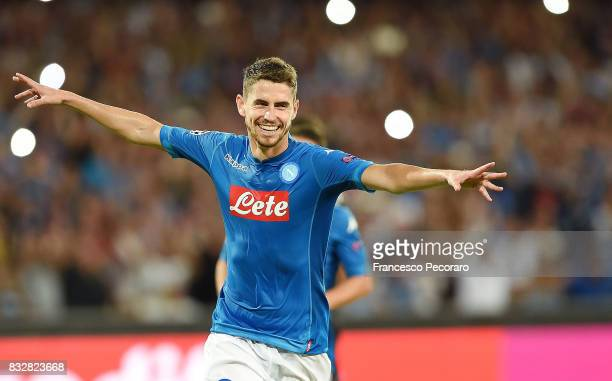 Jorginho of SSC Napoli celebrates after scoring goal 20 during the UEFA Champions League Qualifying PlayOffs Round First Leg match between SSC Napoli...