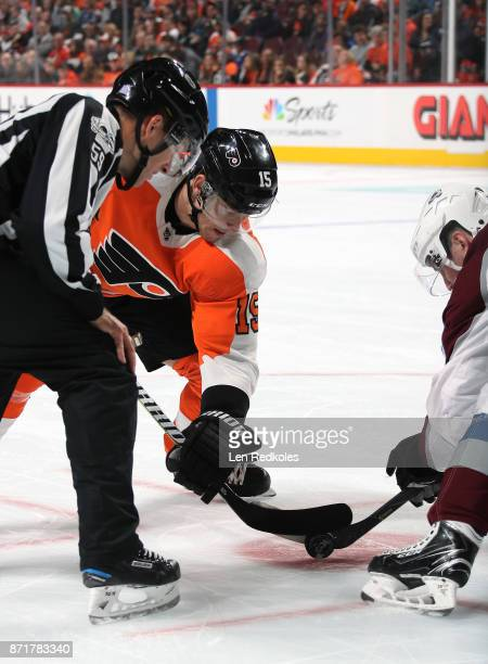 Jori Lehtera of the Philadelphia Flyers battles for the puck on a faceoff against the Colorado Avalanche on November 4 2017 at the Wells Fargo Center...