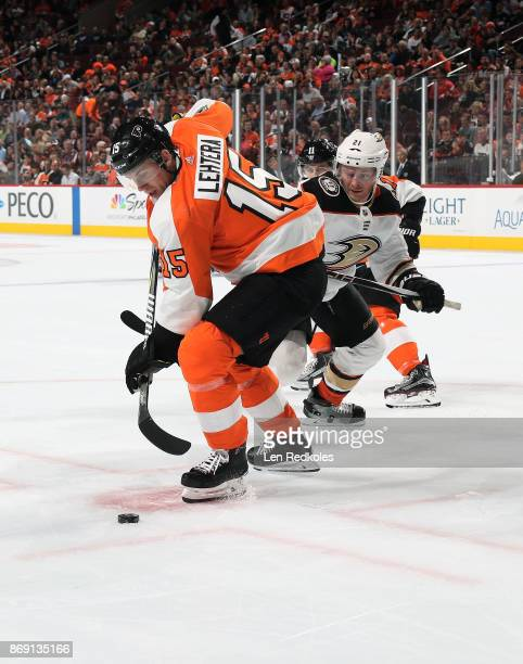 Jori Lehtera of the Philadelphia Flyers looks to back pass the puck against Chris Wagner of the Anaheim Ducks on October 24 2017 at the Wells Fargo...