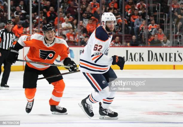 Jori Lehtera of the Philadelphia Flyers skates against Eric Gryba of the Edmonton Oilers on October 21 2017 at the Wells Fargo Center in Philadelphia...
