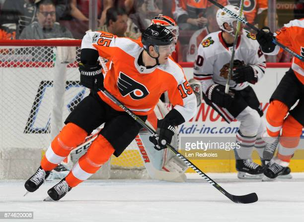 Jori Lehtera of the Philadelphia Flyers skates against the Chicago Blackhawks on November 9 2017 at the Wells Fargo Center in Philadelphia...