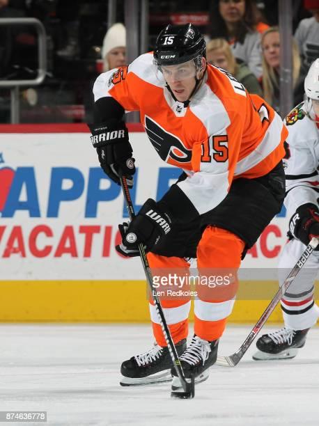 Jori Lehtera of the Philadelphia Flyers skates the puck against the Chicago Blackhawks on November 9 2017 at the Wells Fargo Center in Philadelphia...