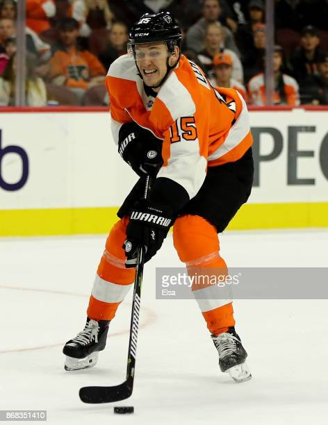 Jori Lehtera of the Philadelphia Flyers takes the puck in the second period against the Arizona Coyotes on October 30 2017 at Wells Fargo Center in...