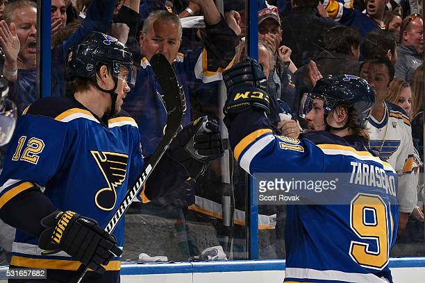Jori Lehtera of the St Louis Blues is congratulated by Vladimir Tarasenko after scoring a goal against the San Jose Sharks in Game One of the Western...