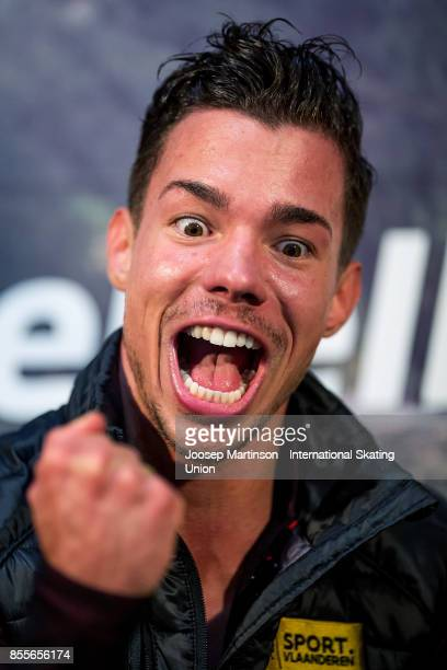 Jorik Hendrickx of Belgium reacts at the kiss and cry in the Men's Free Skating during the Nebelhorn Trophy 2017 at Eissportzentrum on September 29...