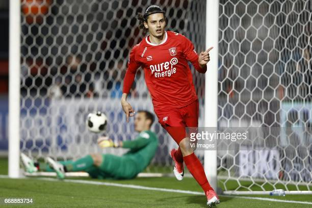 Joris Delle of NEC Nijmegen Enes Unal of FC Twente scoredduring the Dutch Eredivisie match between FC Twente and NEC Nijmegen at the Grolsch Veste on...