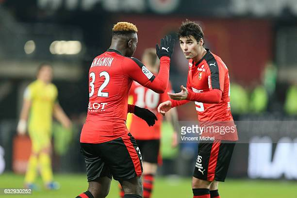 Joris Gnagnon and Yoann Gourcuff of Rennes during the French Ligue 1 match between Rennes and Nantes at Stade de la Route de Lorient on January 28...