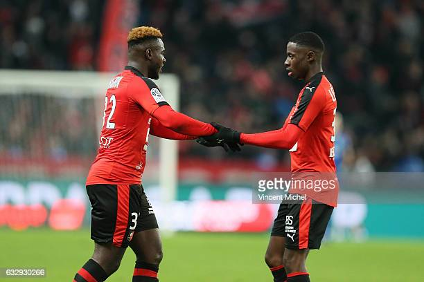 Joris Gnagnon of Rennes and James Lea Siliki of Rennes during the French Ligue 1 match between Rennes and Nantes at Stade de la Route de Lorient on...