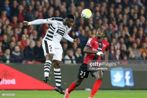 Joris Gnagnon of Rennes and Marcus Thuram of Guingamp during the Ligue 1 match between EA Guingamp and Stade Rennais at Stade du Roudourou on October...