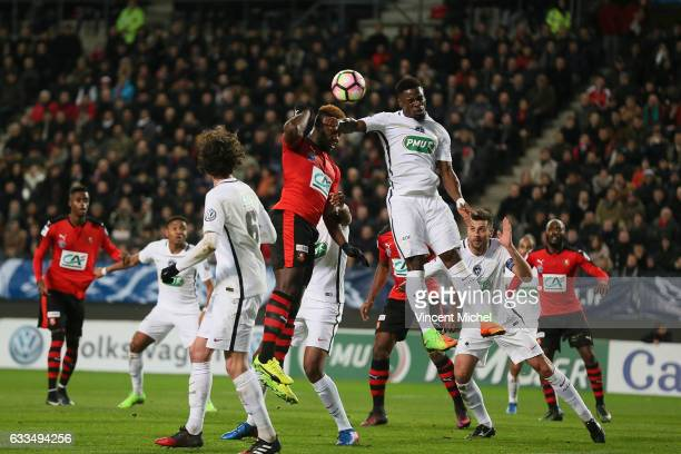 Joris Gnagnon of Rennes and Serge Aurier of Paris SaintGermain during the French National Cup match between Stade Rennais and Paris Saint Germain...