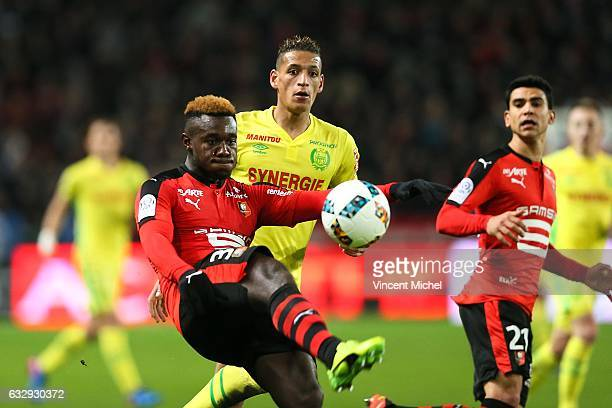 Joris Gnagnon of Rennes and Yacine Bammou of Nantes during the French Ligue 1 match between Rennes and Nantes at Stade de la Route de Lorient on...