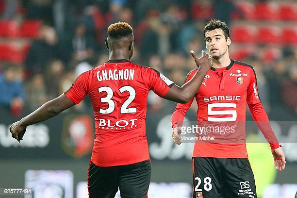 Joris Gnagnon of Rennes and Yoann Gourcuff of Rennes during the French Ligue 1 match between Rennes and Toulouse at Roazhon Park on November 25 2016...