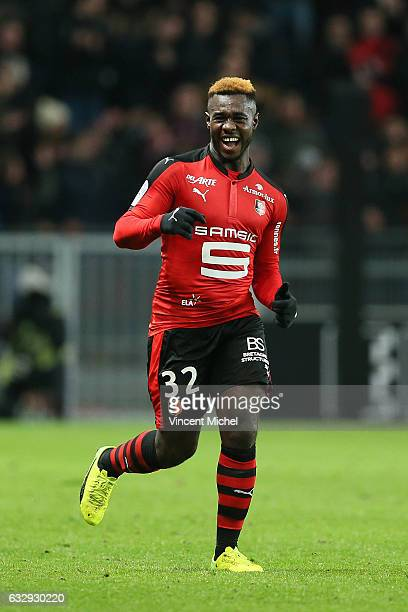Joris Gnagnon of Rennes celebrates after scoring a goal during the French Ligue 1 match between Rennes and Nantes at Stade de la Route de Lorient on...