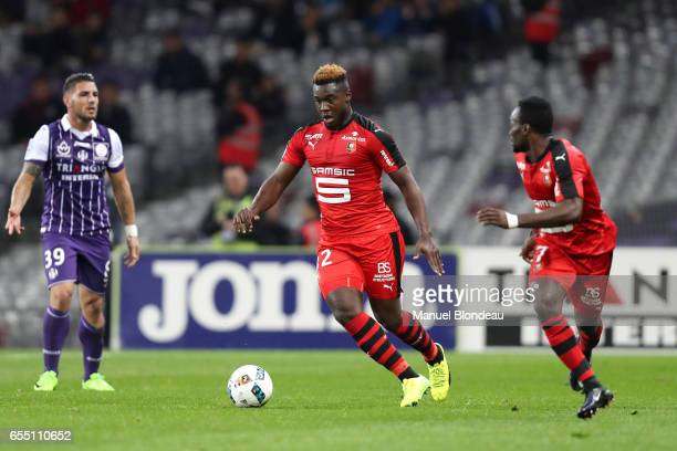 Joris Gnagnon of Rennes during the French League match between Toulouse and Rennes at Stadium Municipal on March 18 2017 in Toulouse France