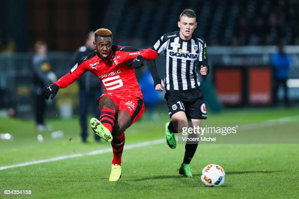 Joris Gnagnon of Rennes during the French Ligue 1 match between Angers and Rennes on February 8 2017 in Angers France