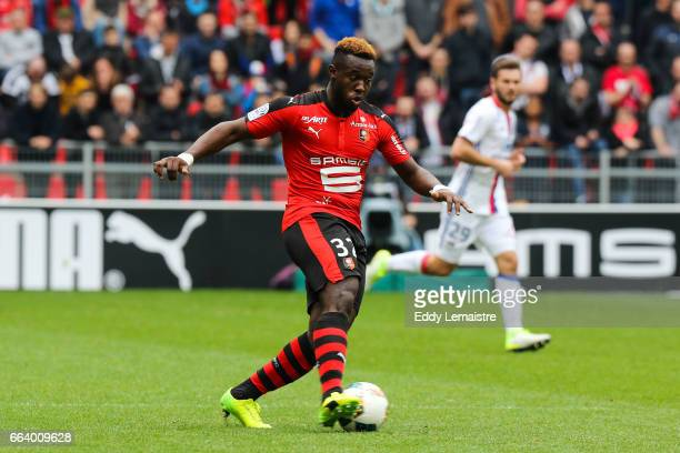 Joris Gnagnon of Rennes during the French Ligue 1 match between Rennes and Lyon at Roazhon Park on April 2 2017 in Rennes France