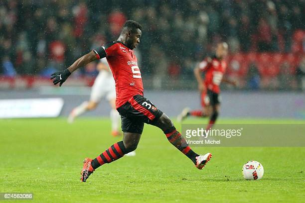 Joris Gnagnon of Rennes during the Ligue 1 match between Stade Rennais and Sco Angers at Stade de la Route de Lorient on November 19 2016 in Rennes...