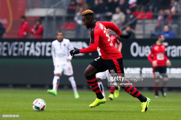 Joris Gnagnon of Rennes during the Ligue 1 match between Stade Rennais and OGC Nice at Roazhon Park on February 12 2017 in Rennes France