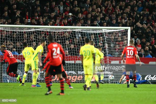 Joris Gnagnon of Rennes jubilates as he scores a goal during the French Ligue 1 match between Rennes and Nantes at Stade de la Route de Lorient on...