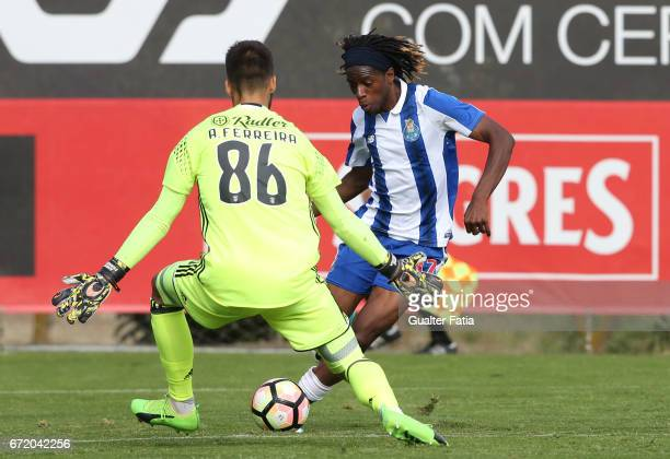 Joris Kayembe of FC Porto B with Andre Ferreira of SL Benfica B in action during the Segunda Liga match between SL Benfica B and FC Porto B at Caixa...