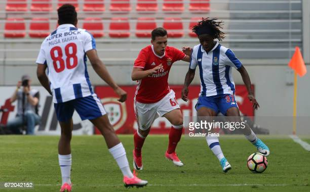 Joris Kayembe of FC Porto B with Pedro Amaral of SL Benfica B in action during the Segunda Liga match between SL Benfica B and FC Porto B at Caixa...