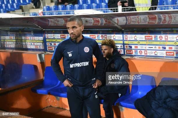 Joris Marveaux and Keagan Dolly of Montpellier during the French Ligue 1 match between Montpellier and Guingamp at Stade de la Mosson on March 4 2017...