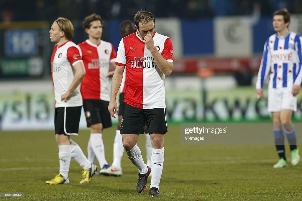 Joris Mathijssen of Feyenoord during the Dutch Eredivisie match between SC Heerenveen and Feyenoord at the Abe Lenstra Stadium on march 30, 2013 in Heerenveen, The Netherlands