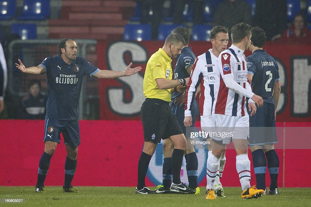 Joris Mathijssen of Feyenoord, referee Richard Liesveld, Stefan de Vrij of Feyenoord, Tim Cornelisse of Willem II, Jordens Peters of Willem II, Daryl Janmaat of Feyenoord during the Dutch Eredivisie match between Willem II and Feyenoord at the Koning Willem II Stadium on february 3, 2013 in Tilburg, The Netherlands