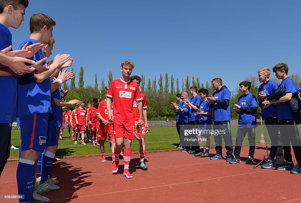 Joris Moeller of Union Belrin During the C-juniors cup match between 1 FC Union Berlin and Hertha BSC on May 5, 2016 in Berlin, Germany.