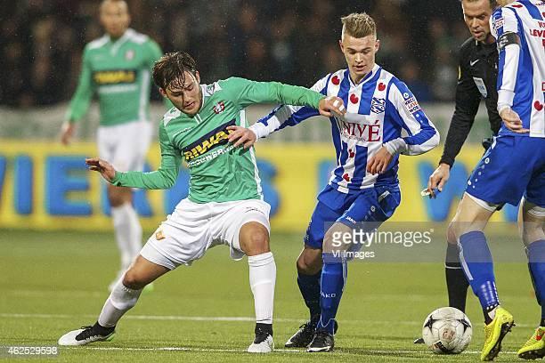 Joris Overeem of FC Dordrecht Daley Sinkgraven of sc Heerenveen referee Bas Nijhuis during the Dutch Eredivisie match between FC Dordrecht v SC...