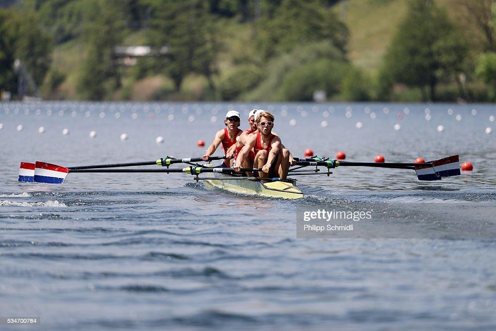 Joris Pijs, Timothee Heijbrock, Jort Van Gennep and Bjorn Van Den Ende of the Netherlands compete in the Lightweight Men's Four heats during day 1 of the 2016 World Rowing Cup II at Rotsee on May 27, 2016 in Lucerne, Switzerland.