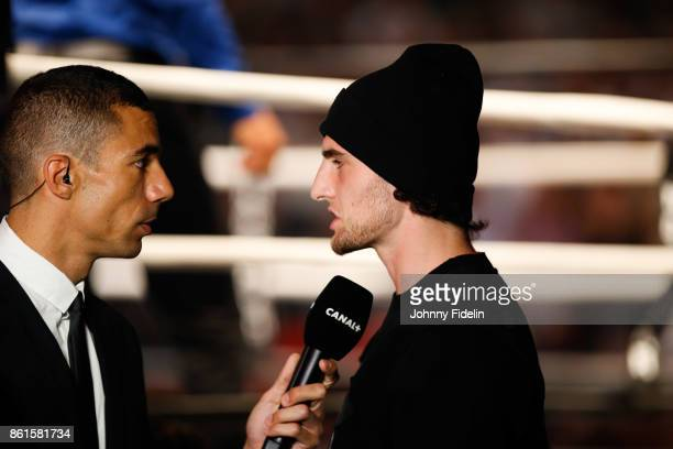 Joris Sabi french journalist interviewed Adrien Rabiot of PSG during the boxing event La Conquete at Zenith de Paris on October 14 2017 in Paris...
