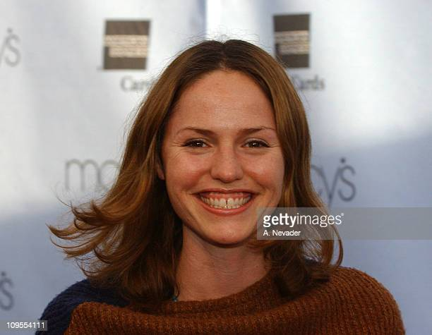 Jorja Fox during Macy's and American Express 'Passport 2002' 20th Anniversary Gala Arrivals at Barker Hangar in Santa Monica California United States