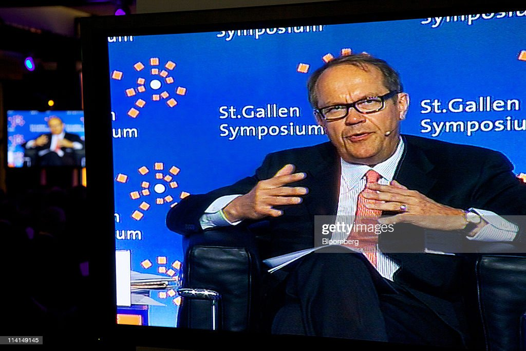 <a gi-track='captionPersonalityLinkClicked' href=/galleries/search?phrase=Jorma+Ollila&family=editorial&specificpeople=619838 ng-click='$event.stopPropagation()'>Jorma Ollila</a>, chairman of Royal Dutch Shell Plc, is seen on video screens during the St. Gallen symposium in St.Gallen, Switzerland, on Friday, May 13, 2011. BP Plc Chief Executive Officer Robert Dudley said he's ''optimistic'' about reaching an agreement on a share swap with state-owned Russian oil producer OAO Rosneft. Photographer: Gianluca Colla/Bloomberg via Getty Images