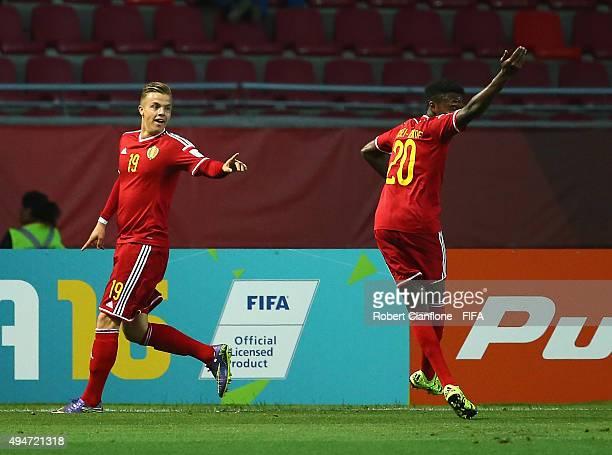 Jorn Vancamp of Belgium celebrates after scoring a goal during the FIFA U17 World Cup round of 16 match between Korea Republic and Belgium at Estadio...