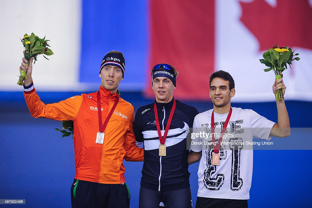 <a gi-track='captionPersonalityLinkClicked' href=/galleries/search?phrase=Jorrit+Bergsma&family=editorial&specificpeople=7364017 ng-click='$event.stopPropagation()'>Jorrit Bergsma</a> of The Netherlands, <a gi-track='captionPersonalityLinkClicked' href=/galleries/search?phrase=Bart+Swings&family=editorial&specificpeople=7294720 ng-click='$event.stopPropagation()'>Bart Swings</a> of Belarus, and Reyon Kay of New Zealand stand on the podium after the Men's Mass Start during the ISU World Cup Speed Skating Championships at Olympic Oval on November 15, 2015 in Calgary, Alberta, Canada.