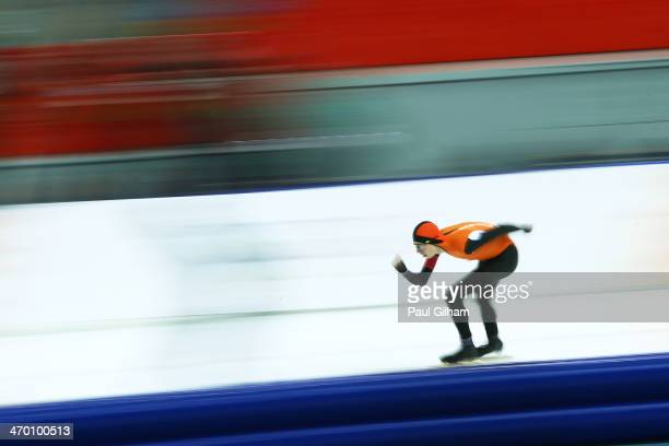 Jorrit Bergsma of the Netherlands competes during the Men's 10000m Speed Skating event on day eleven of the Sochi 2014 Winter Olympics at Adler Arena...