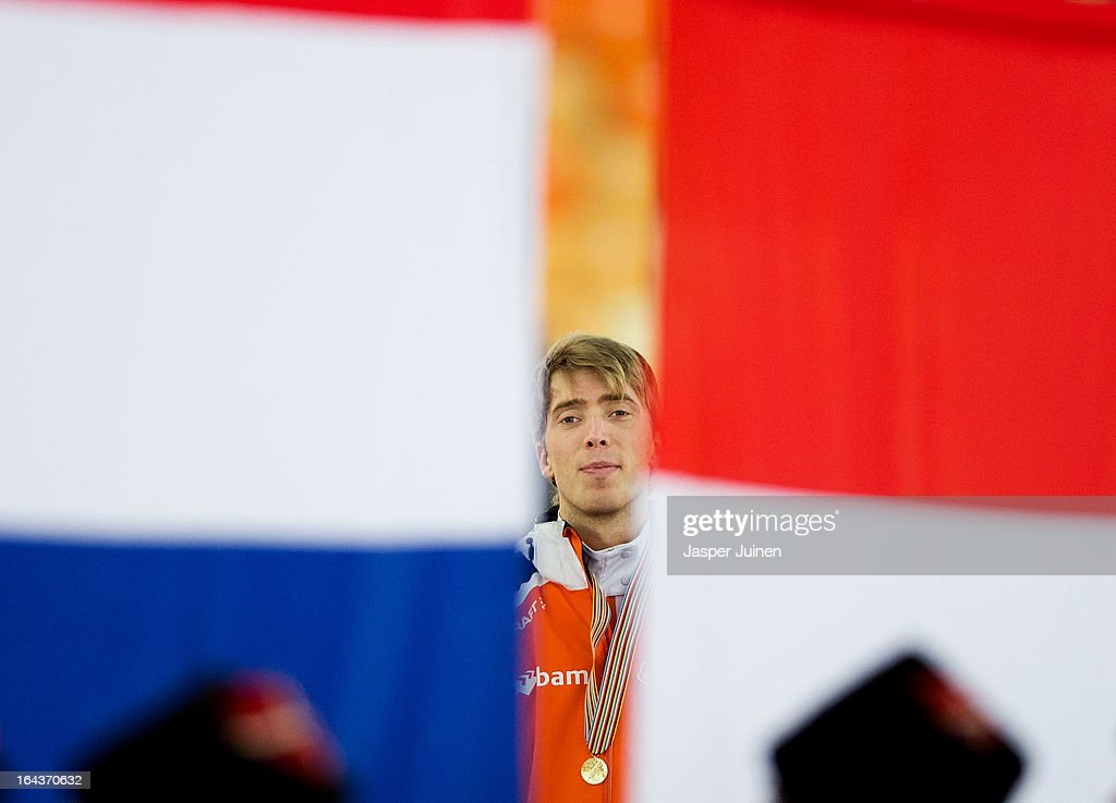 Jorrit Bergsma of the Netherlands listens with his golden medal to his countries national anthem on the podium after winning the 10000m race on day three of the Essent ISU World Single Distances Speed Skating Championships at the Adler Arena Skating Center on March 23, 2013 in Sochi, Russia.